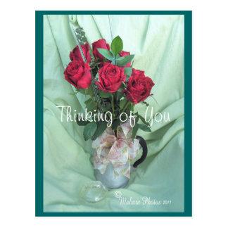 antique GS Coffee Pot & Roses- customize Postcard