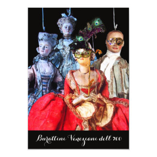 ANTIQUE ITALIAN PUPPETS MASQUERADE COSTUME PARTY 13 CM X 18 CM INVITATION CARD