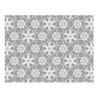 Antique lace - white and silver grey postcard