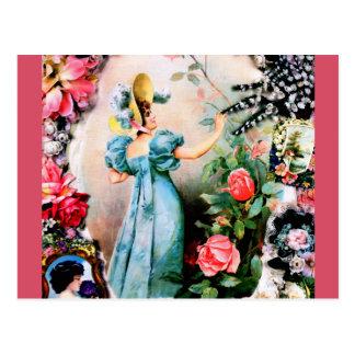 Antique lady woman roses flowers postcard