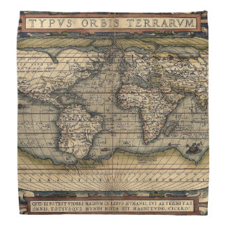 Antique Map Bandana with Latin Inscription