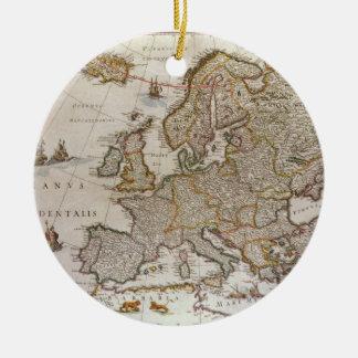 Antique Map of Europe by Willem Jansz Blaeu, c1617 Round Ceramic Decoration