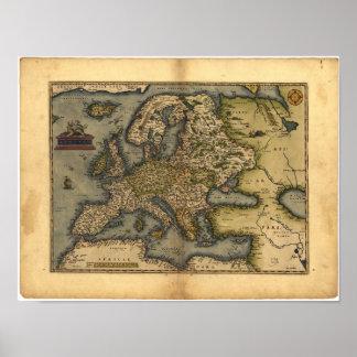 Antique Map of Europe ORTELIUS ATLAS 1570 A.D. Poster