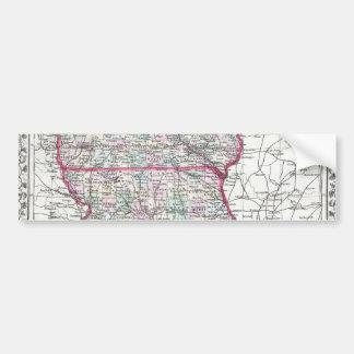 Antique Map of Iowa & Missouri circa 1874 Bumper Sticker