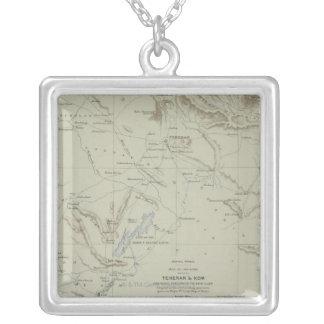 Antique Map of Iran Silver Plated Necklace