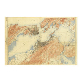 Antique Map of San Francisco Bay Area 1915, Canvas Stretched Canvas Print