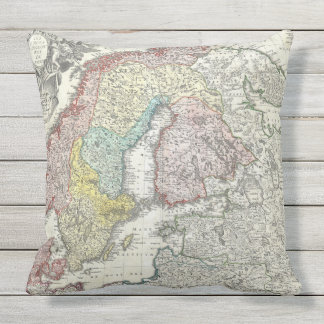 Antique Map Scandinavia Northern Europe Cartograph Throw Pillow