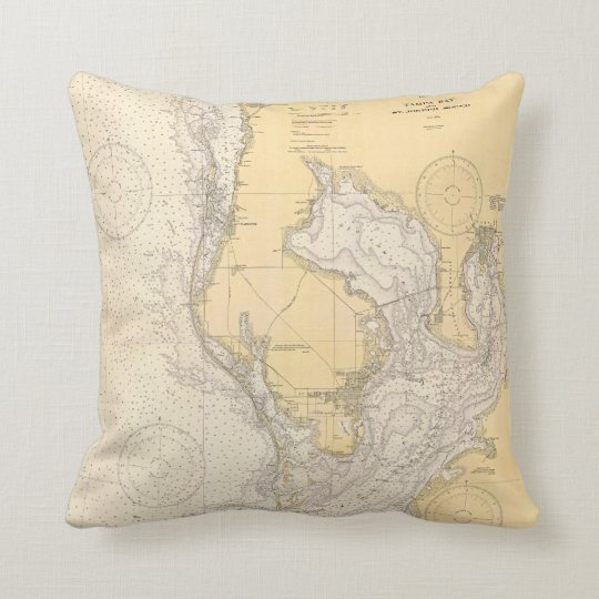 Antique nautical chart of Tampa Bay Florida Cushion