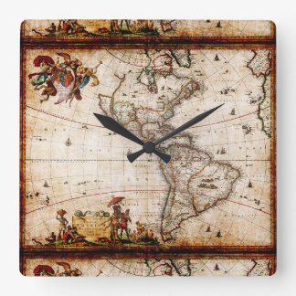 Antique North South America Map New World Vintage Clock