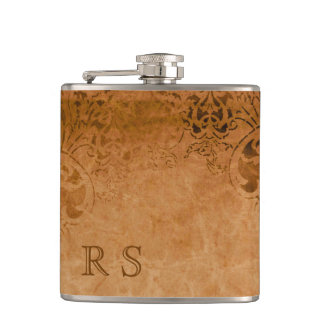 Antique Paper with Worn Pattern Hip Flask