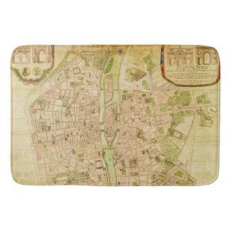 Antique Paris Map 1676 Seine River Vintage France Bath Mats