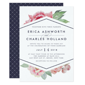 Antique Peony | Blush and Navy Wedding Invitation