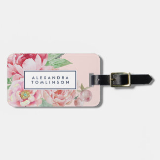 Antique Peony Personalized Luggage Tag