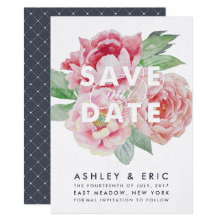Antique Peony Save our Date Card