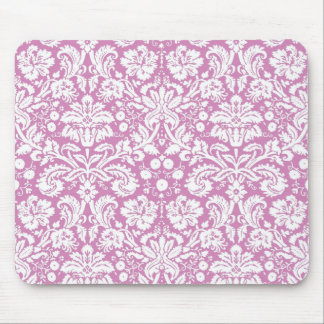 Antique pink damask pattern mouse pad