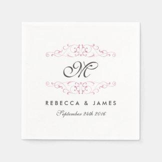Antique Pink Flourish Monogram Wedding Napkin Disposable Serviettes