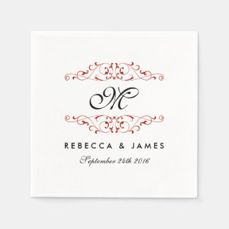 Antique Red Flourish Monogram Wedding Napkin Disposable Napkin
