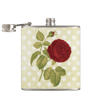 Antique Red Rose Parchment Polka Dots Hip Flask