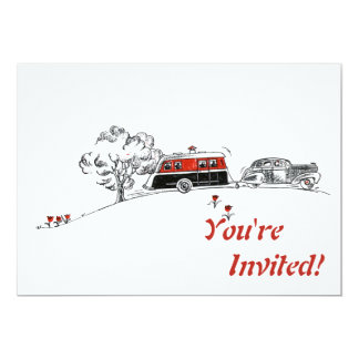 Antique RV Camper and Car   Retirement Party Card