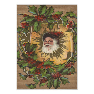 Antique Santa Vintage Christmas Old Fashioned Magnetic Invitations