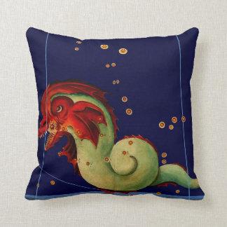 Antique Sea Serpent Creature Map Art Vintage Style Cushion