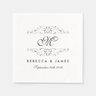 Antique Silver Flourish Monogram Wedding Napkin Paper Napkins