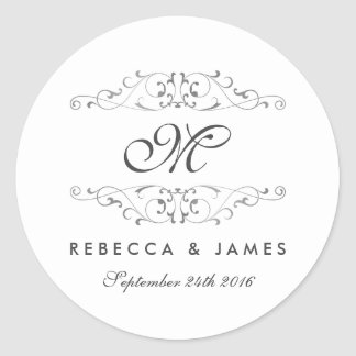 Antique Silver Flourish Monogram Wedding Stickers