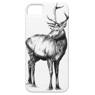 Antique stag art drawing handmade nature barely there iPhone 5 case