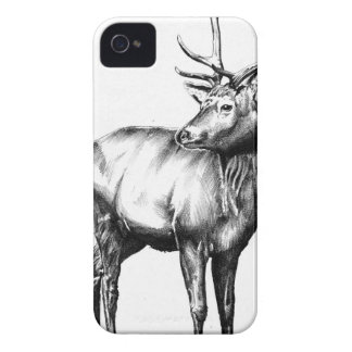 Antique stag art drawing handmade nature iPhone 4 cover