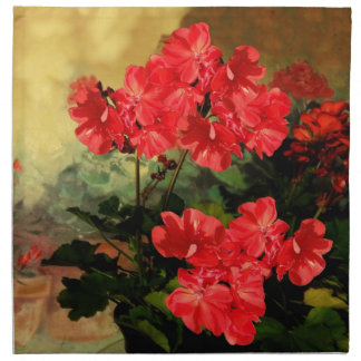 Antique Style Red Geranium Flowers  Gifts Napkin