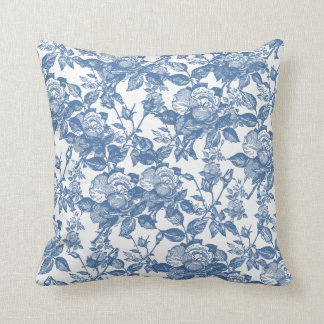 Antique Toile Blue Rose Inspired Throw Pillow