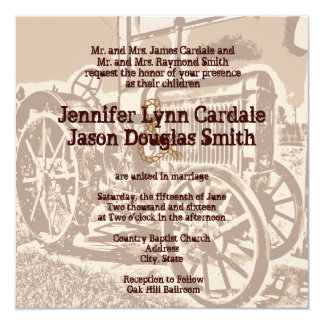 Antique Tractor Farm Wedding Invitations