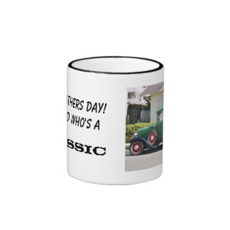 Antique truck, Happy Fathers Day! To A Dad Who's.. Ringer Coffee Mug
