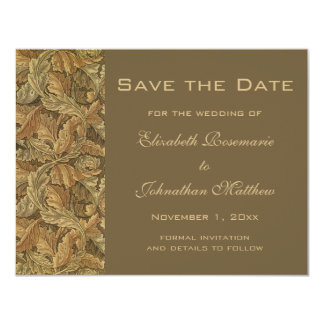 Antique Victorian Warm Autumn Leaves Save the Date Card