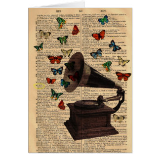 Antique Victrola Butterflies Dictionary Notecard Note Card