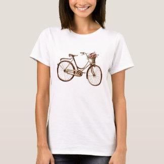 Antique Vintage Bicycle Basket Flowers Roses T-Shirt