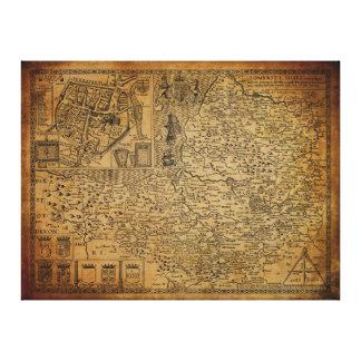 Antique Vintage Map of Somerset UK 1610 Canvas Print