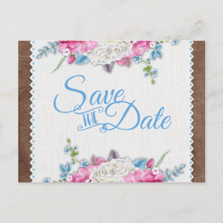 Antique White Rose Floral Rustic Save the Date