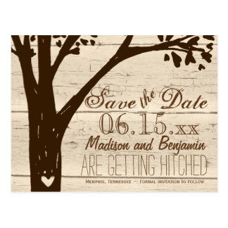 Antique Wood Carved Tree Save the Date Postcards