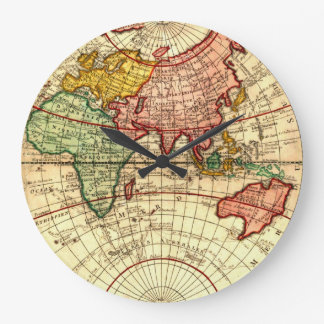 Antique World Globe Map Vintage Art Designer Style Large Clock