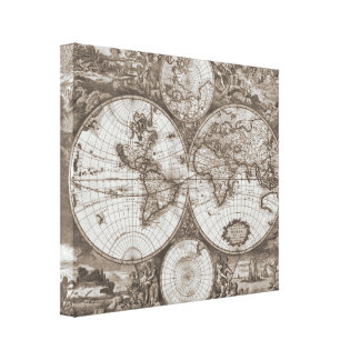 Antique World Map Canvas Print