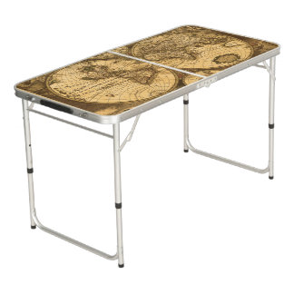Antique World Map Pong Table