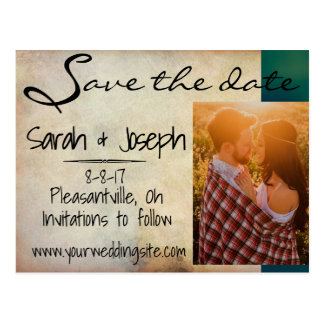 Antiqued Save the Date Engagement Announcement Postcard
