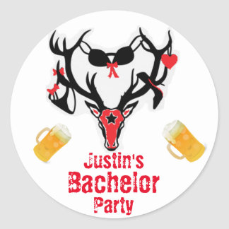 Antler Bachelor Party Classic Round Sticker