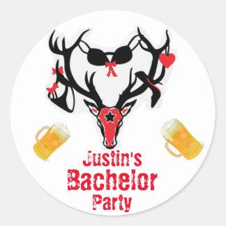 Antler Bachelor Party Round Sticker