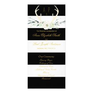 Antlers floral black and white stripes Program Custom Rack Cards