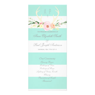 Antlers floral green and white stripes Program Customized Rack Card