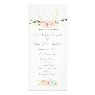 Antlers floral Wedding Program Rack Card Design