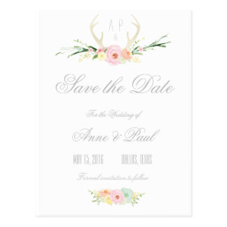Antlers Pink Floral | Save the Date Postcard