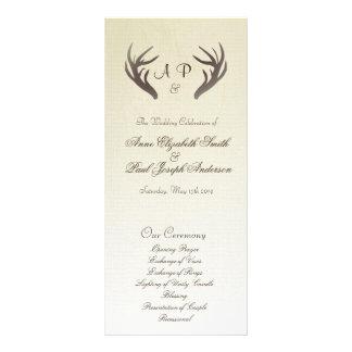 Antlers Wedding Program Ombre Beige Custom Rack Cards